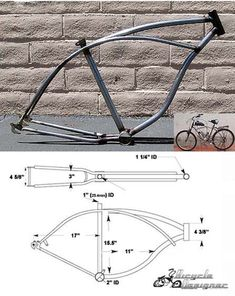 "Cruiser Bicycle Frame 26"" Raw Metal - BicycleDesigner.com, Inc."