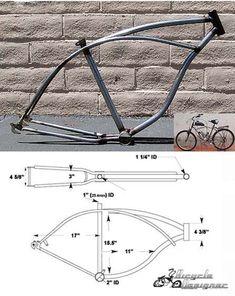 """Cruiser Bicycle Frame 26"""" Raw Metal - BicycleDesigner.com, Inc."""