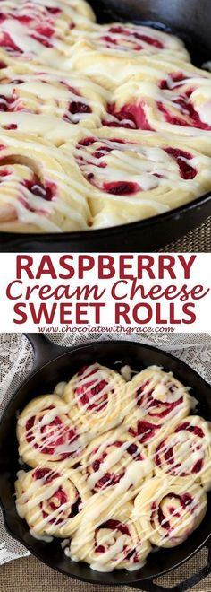 Raspberry Cream Cheese Sweet Rolls Soft, buttery rolls spread with a cream cheese mixture and stuffed with juicy raspberries. These Raspberry Cream Cheese Sweet Rolls make a special treat. - Raspberry Cream Cheese Sweet Rolls l Brunch Recipes, Sweet Recipes, Breakfast Recipes, Dessert Recipes, Breakfast Ideas, Vegan Breakfast, Breakfast Casserole, Brunch Appetizers, Breakfast Muffins