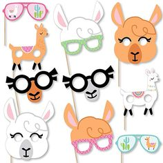 Amazon.com: Big Dot of Happiness Whole Llama Fun Glasses & Masks - Paper Card Stock Llama Fiesta Baby Shower or Birthday Party Photo Booth Props Kit - 10 Count: Toys & Games