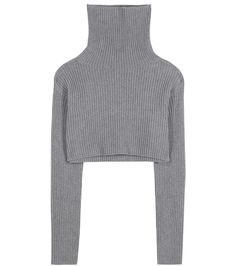 Valentino - Cropped wool and cashmere turtleneck sweater - Valentino's cropped sweater comes ribbed for texture. The cosy piece has been knitted in Italy from a soft blend of wool and cashmere, while the chunky turtleneck is endlessly cosy. Team yours with high-waisted denim. seen @ www.mytheresa.com