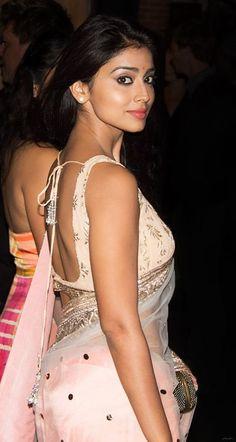 Shriya Saran Sexy Side View in Pink Saree