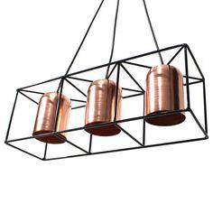 Lámpara Colgante RECLámpara colgante para techo, hecha en acero.Esta lámpara está inspirada en una fusión de tendencias contemporáneas e industriales. Por su composición y tamaño encaja muy bien en cualquier ambiente. Hay diferentes configuraciones para crear espacios personalizados.Medidas: 18 x 55 x 18 cmDISPONIBLE EN VARIOS COLORES: * Negro + cobre * Blanco + cobre. * Negro + Blanco