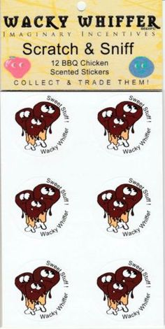Wacky-Whiffer-Scratch-and-Sniff-Stickers-BBQ-Chicken-MIP-Sealed-ITM-002E3