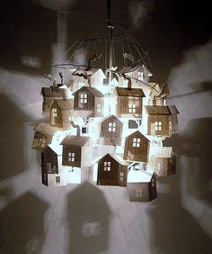 lamp van papieren huisjes: deze wil ik zoooo hard hebben!!