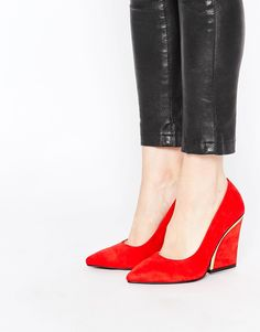 Image 1 of London Rebel Curve Heeled Court Shoes