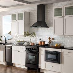 Stainless Steel Kitchen Appliances, Stainless Steel Range Hood, Black Stainless Steel, Kitchen With Black Appliances, White Kitchens, Black Appliances White Cabinets, Galley Kitchens, Dream Kitchens, Black Range Hood