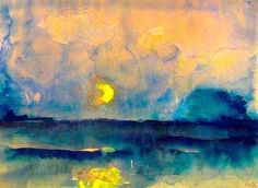 ca 1945 Emil Nolde (German, ~ Halbmond über dem Meer [Half moon over the sea]; watercolor and gouache over pencil, x cm Petit: g'night, good friends … sweetest dreams for you xo Emil Nolde, Oil Canvas, Guache, Art Moderne, Love Art, Online Art, Painting & Drawing, Art History, Landscape Paintings