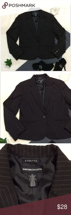 Norton McNaughton Pinstripe Blazer - EUC Very sharp and in excellent condition. Has padded shoulders and one button closure with a satin lining. Has stretch to it as well and till look great over your cute cami's Norton McNaughton Jackets & Coats Blazers
