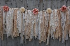 Shabby chic garland hand tied with tattered tea stained and ivory lace crepe bro. Shabby chic garland hand tied with tattered tea stained and ivory lace crepe brocade and linen and Shabby Chic Mode, Style Shabby Chic, Shabby Chic Bedrooms, Shabby Chic Kitchen, Shabby Chic Furniture, Shabby Chic Decor, Lace Decor, Rustic Style, Shabby Chic Garland