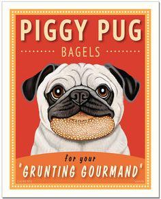 "Pug Art - Piggy Pug Bagels - ""For The Grunting Gourmand"" - 8x10 art print by Krista Brooks"
