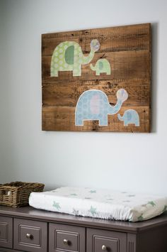 Great DIY Nursery Project - this sign was used with old barn wood and @skiphopnyc elephant decals were added!