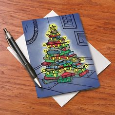 Book Tree Cards These would make great Christmas cards from a librarian.
