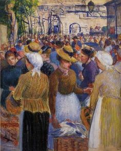 Impressionism, Post-Impressionism - Camille Pissarro, Poultry Market at Gisors, 1889 Claude Monet, French Impressionist Painters, Impressionist Artists, Paul Gauguin, Camille Pissarro Paintings, Pissaro Paintings, Art Paintings, Art Du Monde, Gustave Courbet