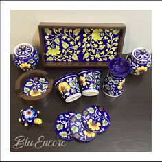 Tableware that carries tales as beautiful as their art - we present Jaipur's Mystic Blue Pottery in its rawest form to you! It has been sourced directly from the artisans of Jaipur with the registered GI tag and is 100 percent hand-crafted, with each piece taking around 15-20 days to be made.  They also make for great personal and corporate gifting solutions! Now, enjoy the convenience of shopping on whatsapp @ 9702004532 / 8928454830 DM to book an exclusive appointment with us.  #homedecor #ind Blue Pottery, Corporate Gifts, Jaipur, Mystic, Decorative Boxes, Artisan, Presents, Book, Tableware