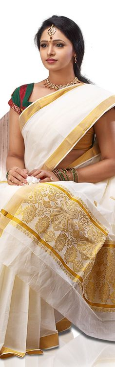 Traditional Kerala Kasavu Saree - original pin by @webjournal