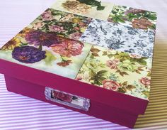 Spruce up your spring decor with this easy DIY decoupaged box using vintage postcards