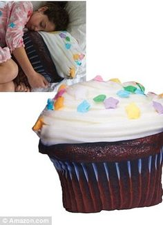 Fast food love: Sweet-toothed nappers will love the cupcake and pizza shaped cushions