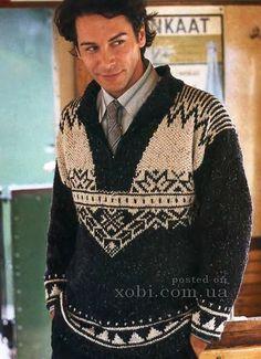 мужской пуловер с жаккардовыми узорами