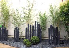 Gravel Landscaping, Modern Landscaping, Front Yard Landscaping, Diy Backyard Fence, Backyard Pool Designs, Bamboo Landscape, Landscape Design, Fence Design, Garden Design