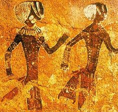 Algeria, north Africa: Prehistoric rock art in the Tassili n'Ajjer mountain range (dated around 8000 BCE) Ancient Mysteries, Ancient Artifacts, African History, African Art, Ancient History, Art History, Religions Du Monde, Art Pariétal, Cave Drawings