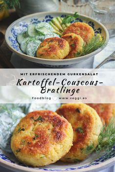 Potato couscous patties with cucumber salad These delicious vegan potatoes . - Potato couscous patties with cucumber salad These delicious vegan potato couscous patties are - Salad Recipes Healthy Lunch, Salad Recipes For Dinner, Chicken Salad Recipes, Easy Healthy Recipes, Veggie Recipes, Vegetarian Recipes, Easy Meals, Cooking Recipes, Healthy Food