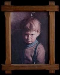 """Crying Boy Painting"". The picture was a portrait painted by a Spanish artist of an orphan that was mass produced in the UK with several thousand in circulation. It is said that the artist's studio burnt to the ground, and the boy was later killed in a car crash. It is said that the curse will only effect someone if the owner of the painting becomes aware of it. Some psychics have claimed that the painting is haunted by the spirit of the boy it depicts."
