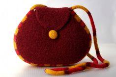 Felted Wool Purse Long Strap Shoulder Bag garnet by DeborahDumka, $178.00