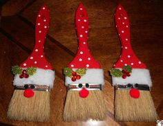 Cheap 2 inch paint brush Red felt white felt or fuzzy felt White paint pen eyes small red pom-pom small holly leaves and red jewel crystals Craft glue