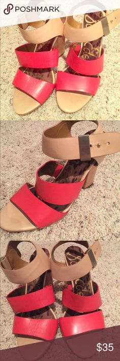 Sam Edelman red and tan strappy heels These lightly worn Sam Edelman heels are stunning in person and on. They are a red and cream leather with a simply button closure and strap that goes around the ankle. Heel is 3 inches Sam Edelman Shoes Heels