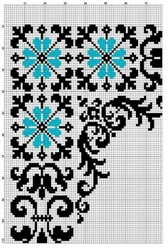 Esquinero Cross Stitch Borders, Cross Stitch Charts, Cross Stitch Designs, Cross Stitch Embroidery, Cross Stitch Patterns, Pinterest Cross Stitch, Embroidered Bedding, Cross Stitch Freebies, Palestinian Embroidery