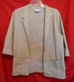 The Season Ticket Khaki Cuffed 3/4 Sleeve Jacket Medium Petite 2 Pockets $10.00