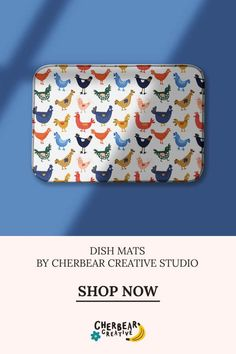 Chickens Dish Mat by Cherbear Creative Studio Sustainable Living, Sustainable Fashion, Fabric Design, Pattern Design, Eco Friendly House, Etsy Business, Creative Studio, Dishes, Beautiful