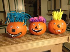 We decided we wanted the kids to decorate pumpkins early this year. Since carved pumpkins don't keep very well we had to get creative. We used pipe-cleaners for hair, bobble eyes with glue, and paint for mouths and noses. The kids had a blast and it was simple and clean!
