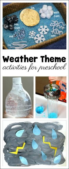 21 great ideas to use when teaching a preschool weather theme. Hands-on activities that are FUN! Would be great for other ages too! science for preschoolers preschool activities preschool crafts kindergarten Preschool Themes, Preschool Lessons, Preschool Learning, Preschool Curriculum, Preschool Crafts, Homeschooling, Spring Preschool Theme, Water Theme Preschool, Science Center Preschool