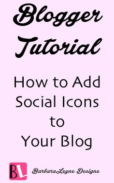 Directions for adding social media icons to your blog's sidebar. Instructions are for blogger but can be applied to wordpress also.