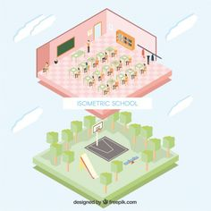 Isometric school Free Vector