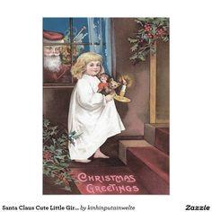 Santa Claus Cute Little Girl Toys Holly 5x7 Paper Invitation Card