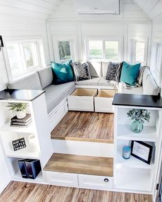 """""""Braxton"""" Tiny House is an Entertainer's Dream! The """"Braxton"""" tiny house on wheels is an entertainer's dream! It features white shiplap & bla House Design, Home Living Room, House, Cozy House, Home Improvement Loans, Home Decor, House Interior, Budget Home Decorating, Tiny House Living Room"""