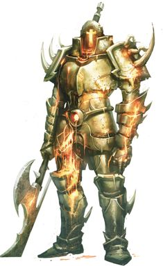 A Molten Golem, forged by dwarves to protect and destroy, often fire elementals are entrapped within the metal, their rage powering the automaton