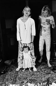 Kurt, Frances Bean and Courtney Love