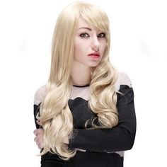 Sexy Women Side Bangs Heat Resistant Synthetic Fiber Long Curly Wavy Hair Wigs Blonde