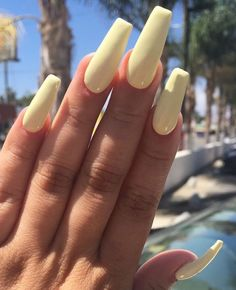 pinterest: bellaxlovee ✧☾ yellow coffin nails