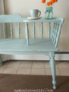 Telephone table made over in del mar blue by BM simplehomelife Furniture Making, Home Furniture, Gothic Furniture, Furniture Movers, Bedroom Furniture, Repurposed Furniture, Painted Furniture, Vintage Telephone Table, Gossip Bench