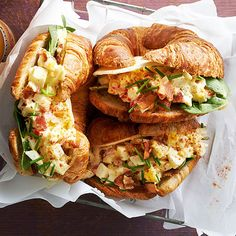 Egg sandwiches are a convenient and delicious way to serve your morning crowd. Bonus: These mouthwatering deviled-egg-filled croissants take just 25 minutes to prepare! http://www.bhg.com/recipes/breakfast/brunch/brunch-recipe-ideas/?socsrc=bhgpin010515deviledeggcroissantwiches&page=2