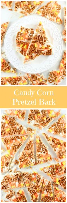 Silky white chocolate sprinkled with candy corn and salty pretzels, it's a sweet-and-salty Halloween candy delight!