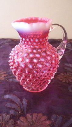 Fenton Cranberry  Hobnail Glass Syrup Pitcher