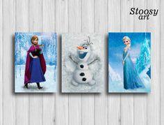frozen poster set of 3 : anna olaf elsa frozen decor disney gifts