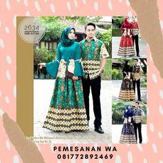 Model Baju Gamis Batik Couple Sarimbit Semisutra Lengan terompet kombinasi Tali Untuk Baju Lebaran Terbaru Batik Couple, Couples, Couple