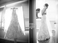 gorgeous bride getting dressed in her Monique Lhuillier gown Monique Lhuillier, Engagement Shoots, Get Dressed, Wedding Photos, Gowns, Bride, Couples, Wedding Dresses, Fashion